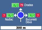 Presemnalizarea directiilor intr-o intersectie cu sens giratoriu